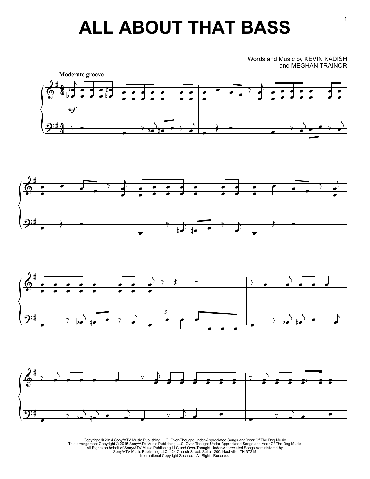 Partition piano All About That Bass de Meghan Trainor - Piano Solo