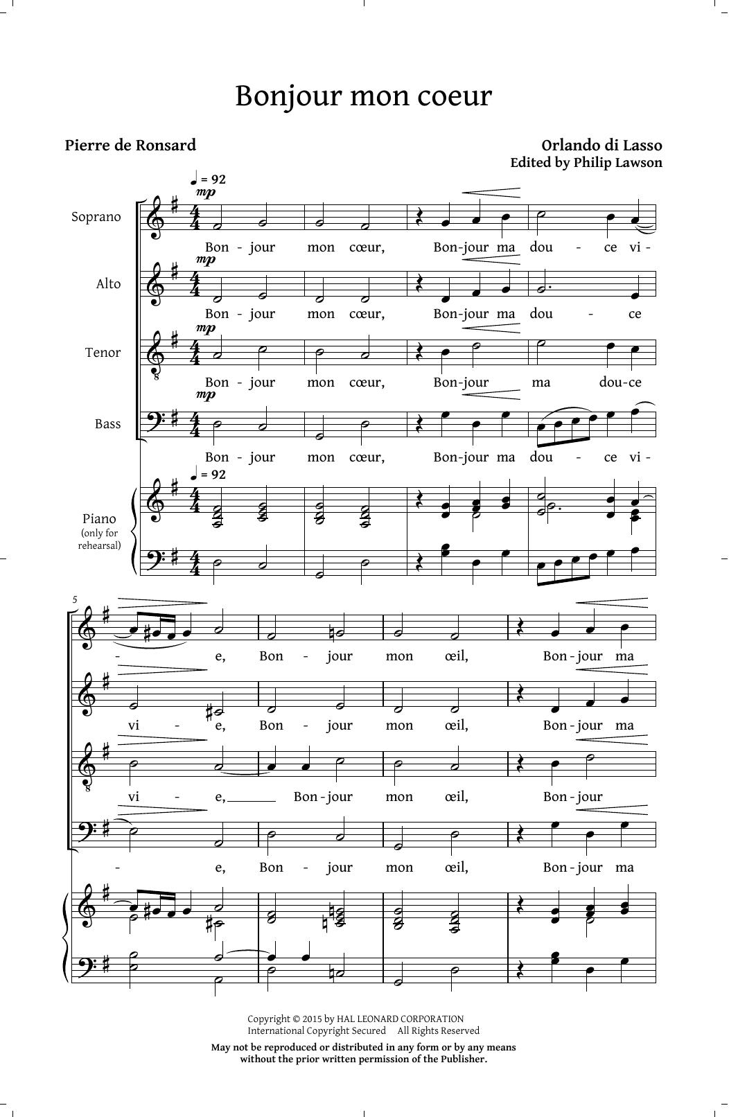 Partition chorale Bonjour Mon Coeur (arr. Philip Lawson) de Orlando di Lasso - SATB