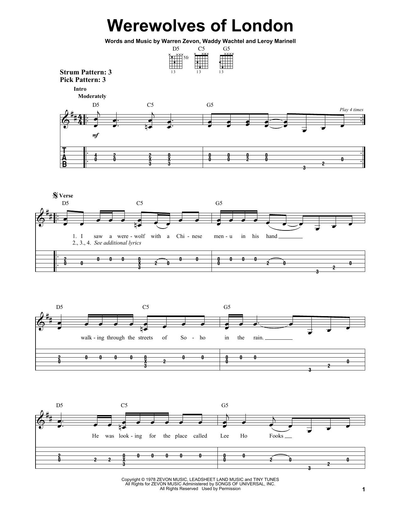 Partition piano Werewolves Of London de Warren Zevon - Tablature guitare facile