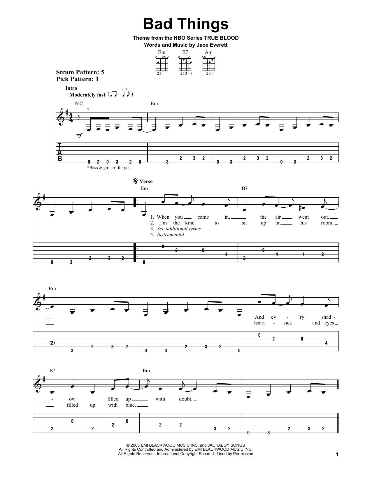 Partition piano Bad Things de Jace Everett - Tablature guitare facile