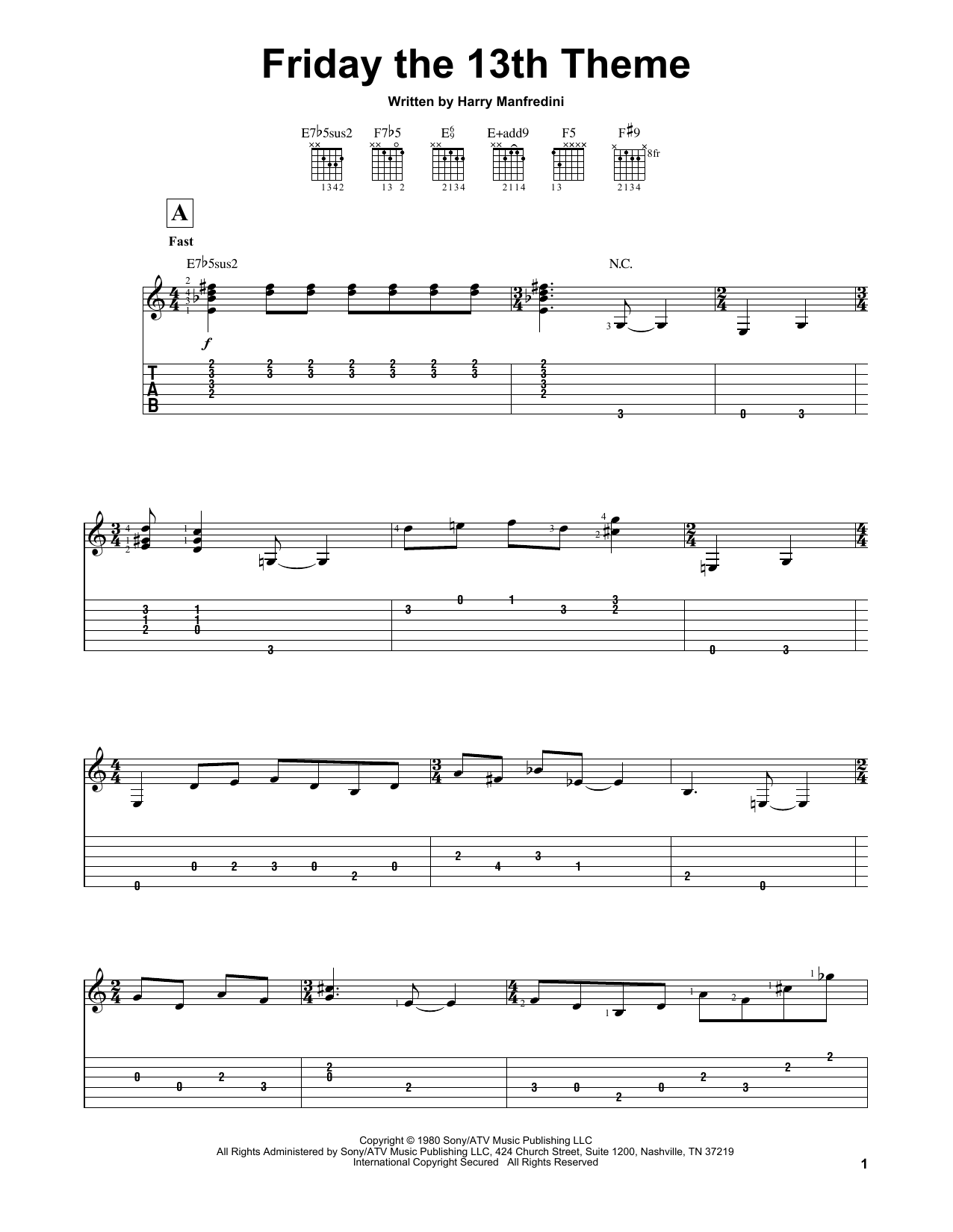 Partition piano Friday The 13th Theme de Harry Manfredini - Tablature guitare facile