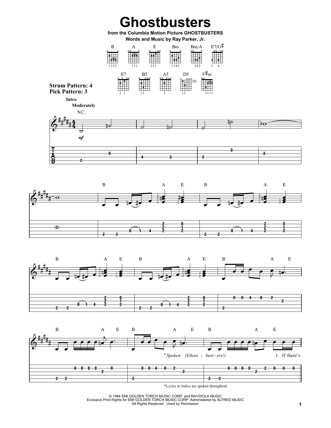 Partition piano Ghostbusters de Ray Parker Jr. - Tablature guitare facile
