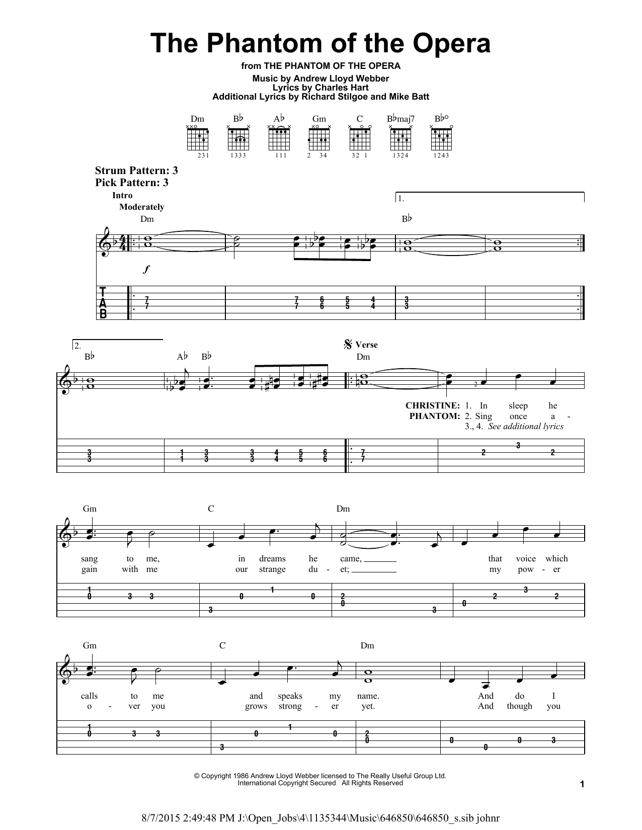Partition piano The Phantom Of The Opera de Andrew Lloyd Webber - Tablature guitare facile