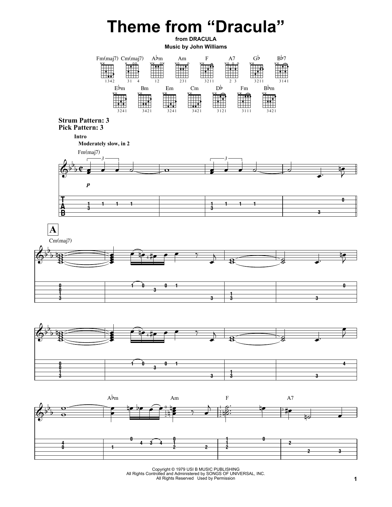 "Partition piano Theme from ""Dracula"" de John Williams - Tablature guitare facile"