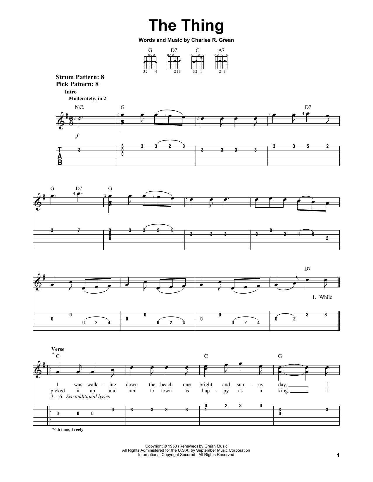 Tablature guitare The Thing de Charles R. Grean - Tablature guitare facile
