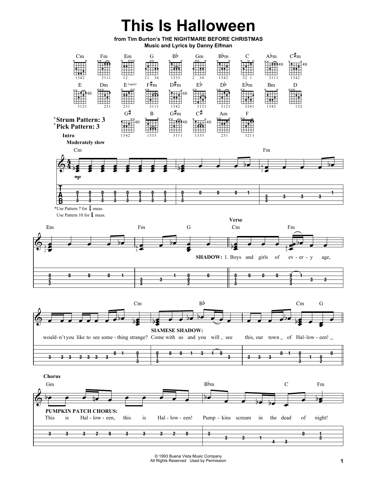 Partition piano This Is Halloween de Danny Elfman - Tablature guitare facile
