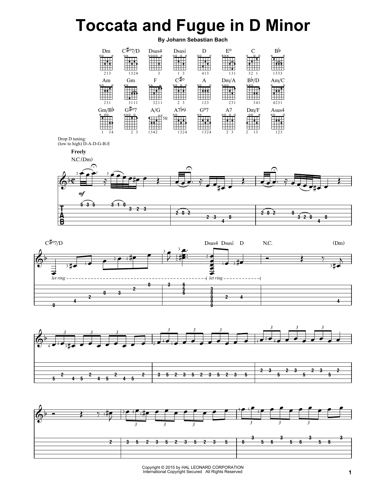 Partition piano Toccata And Fugue In D Minor de J.S. Bach - Tablature guitare facile