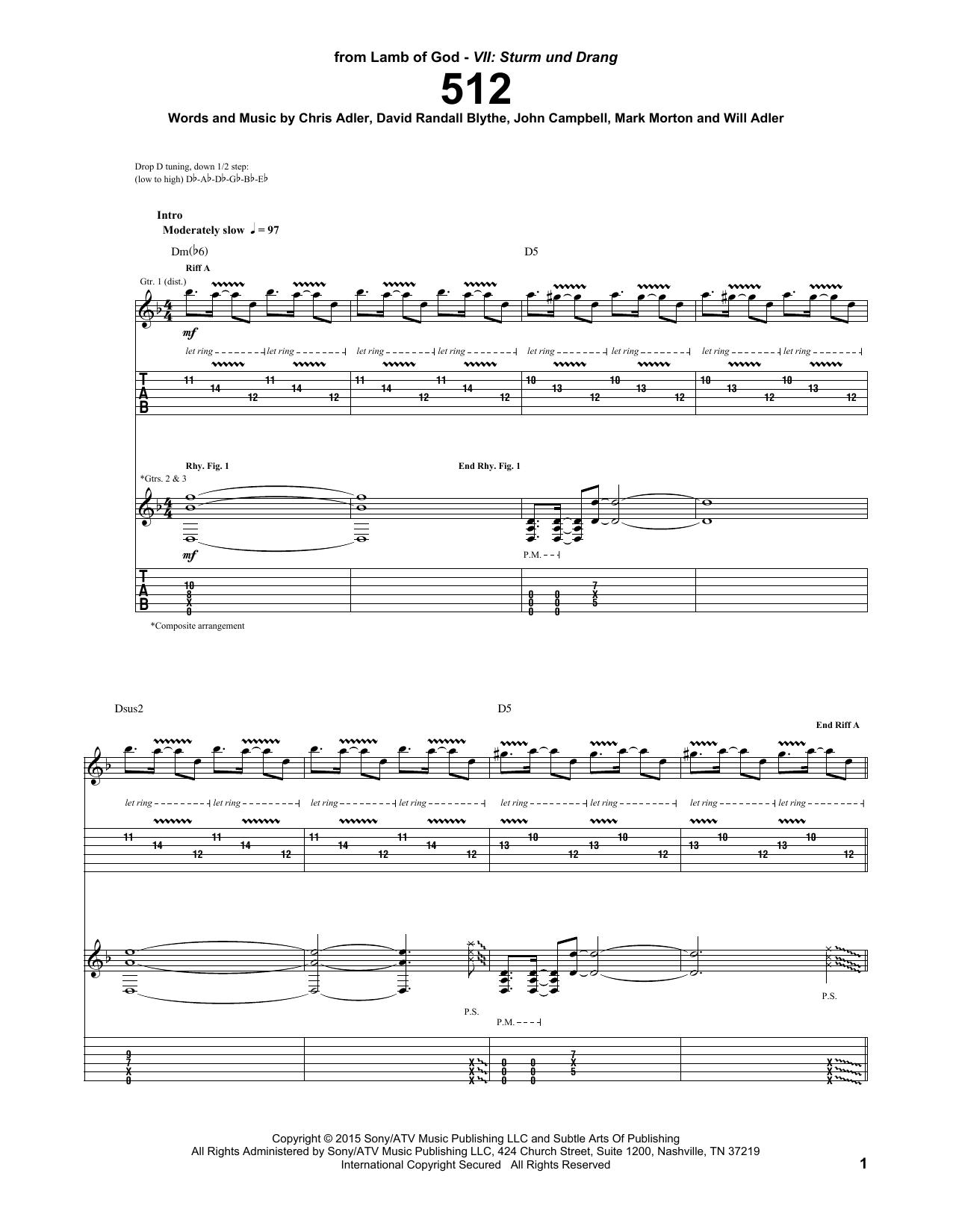 Tablature guitare 512 de Lamb Of God - Tablature Guitare
