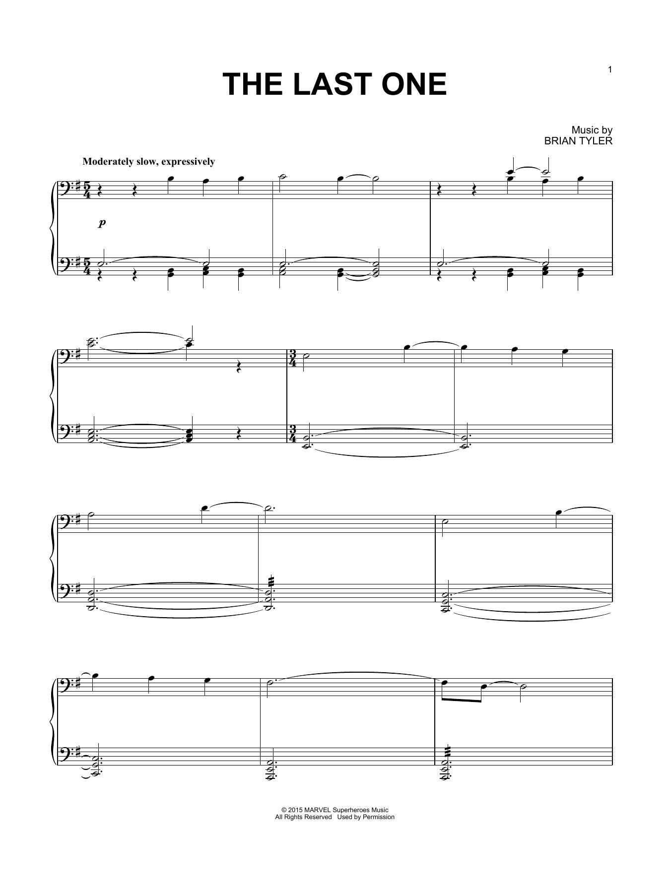 Partition piano The Last One de Brian Tyler - Piano Solo
