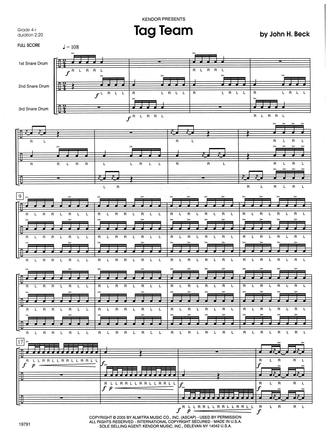 Tag Team (COMPLETE) sheet music for percussions by John H. Beck