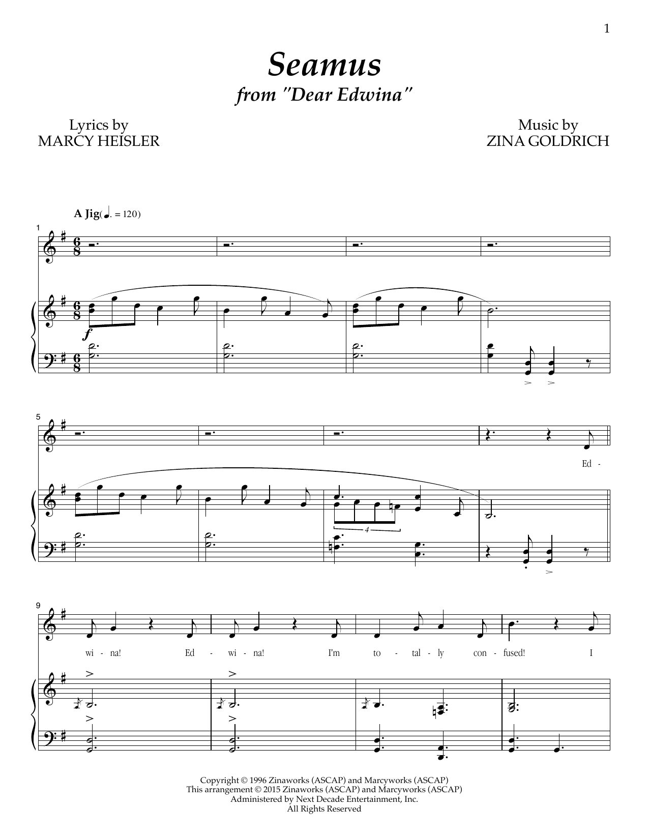 Partition piano Seamus de Goldrich & Heisler - Piano Voix