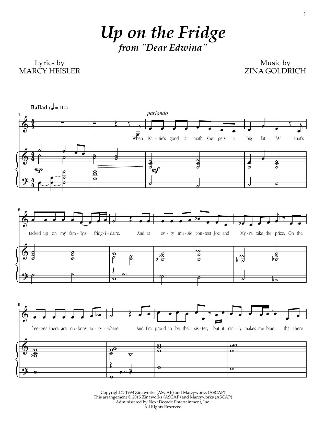 Partition piano Up On The Fridge de Goldrich & Heisler - Piano Voix