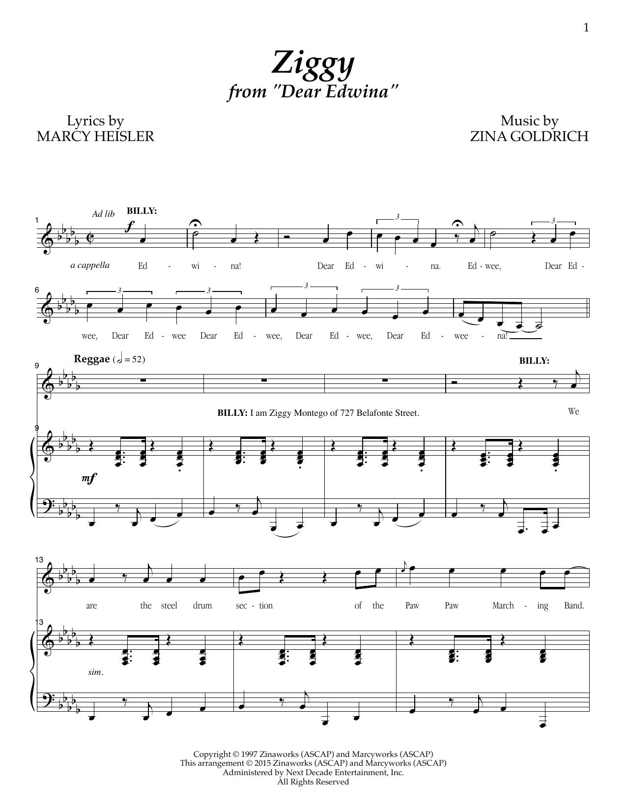 Partition piano Ziggy de Goldrich & Heisler - Piano Voix