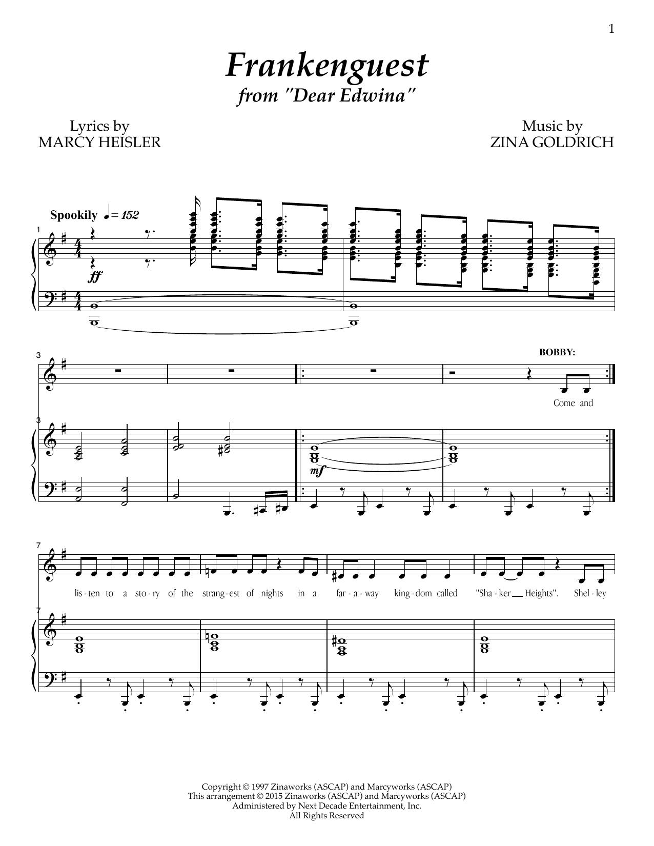 Partition piano Frankenguest de Goldrich & Heisler - Piano Voix