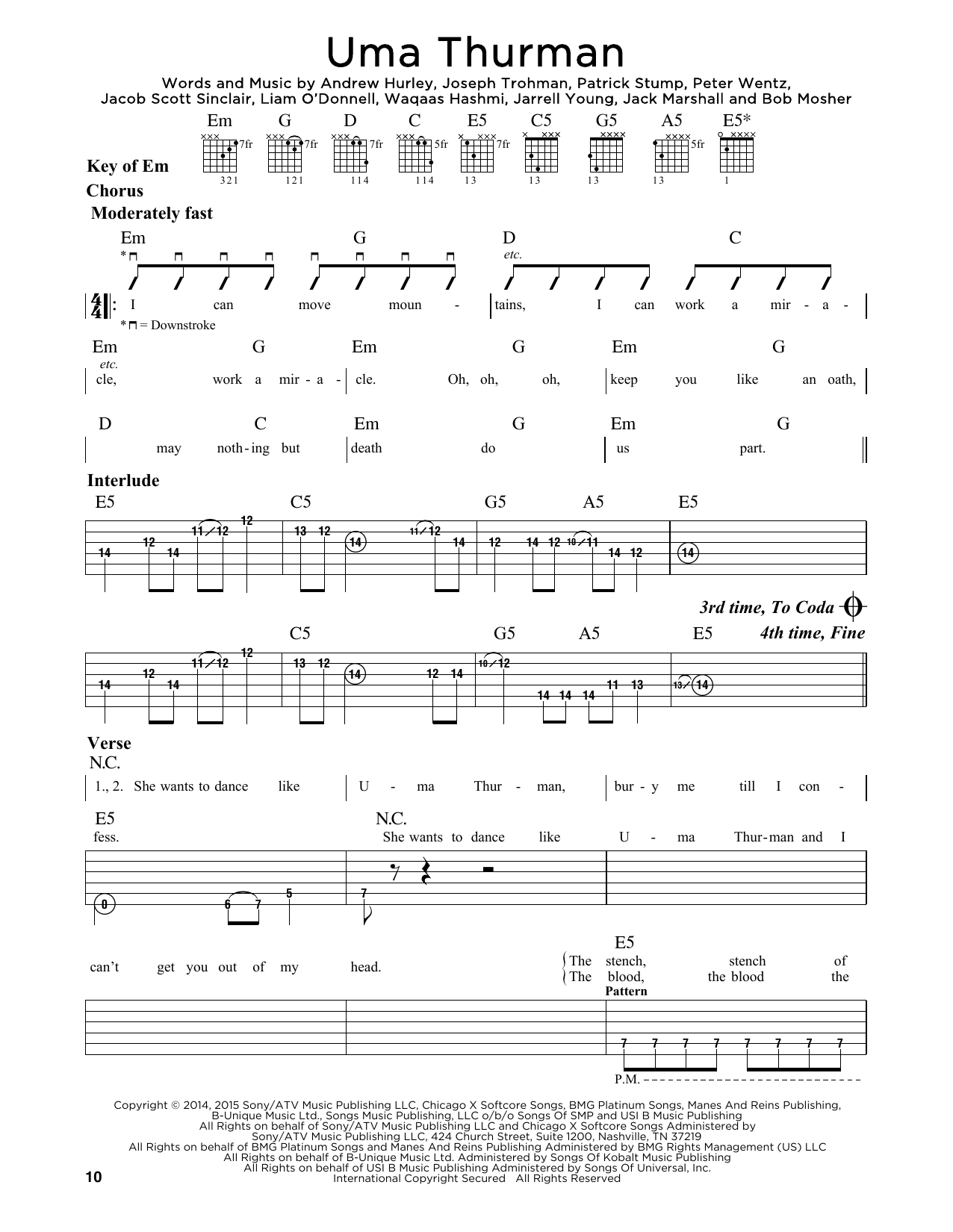 Tablature guitare Uma Thurman de Fall Out Boy - Tablature Guitare Lead