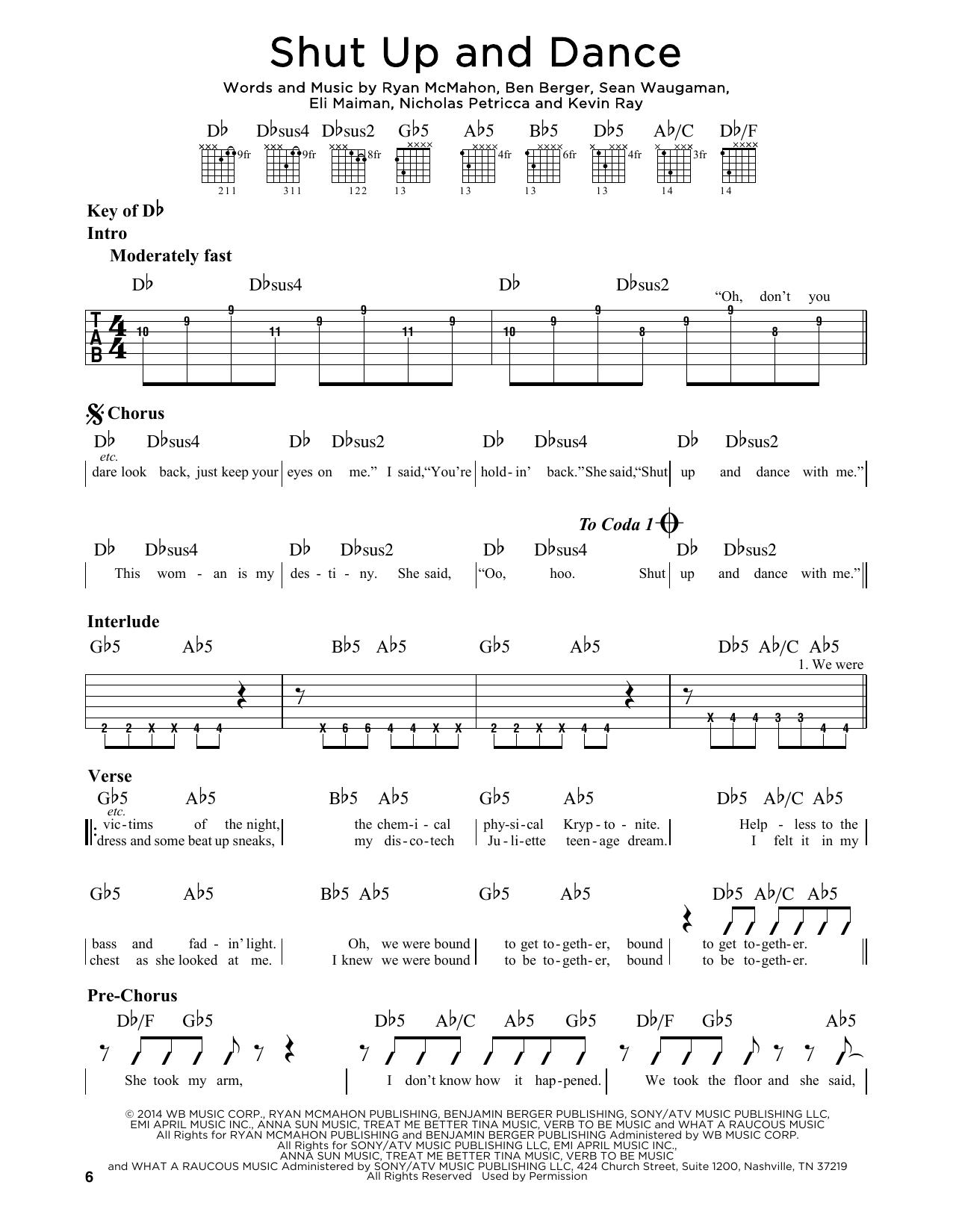 Tablature guitare Shut Up And Dance de Walk The Moon - Tablature Guitare Lead