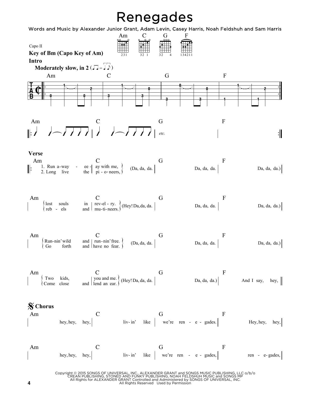 Tablature guitare Renegades de X Ambassadors - Tablature Guitare Lead