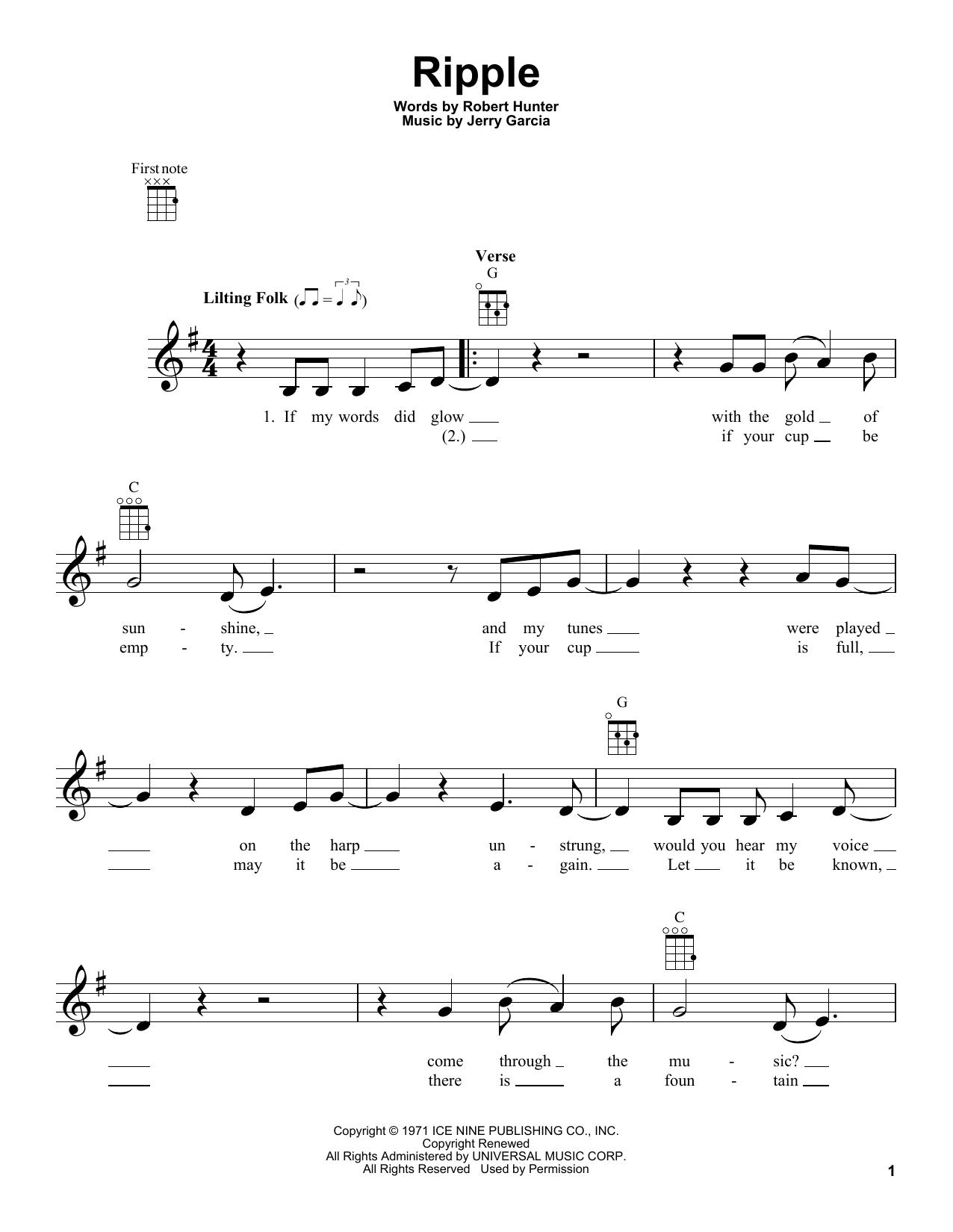 Tablature guitare Ripple de Grateful Dead - Ukulele