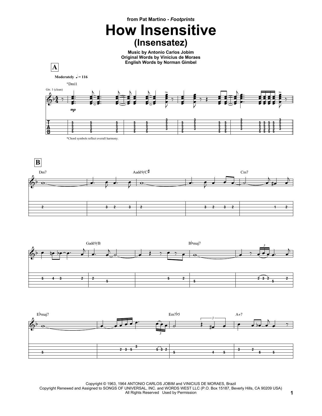 Tablature guitare How Insensitive (Insensatez) de Pat Martino - Tablature Guitare