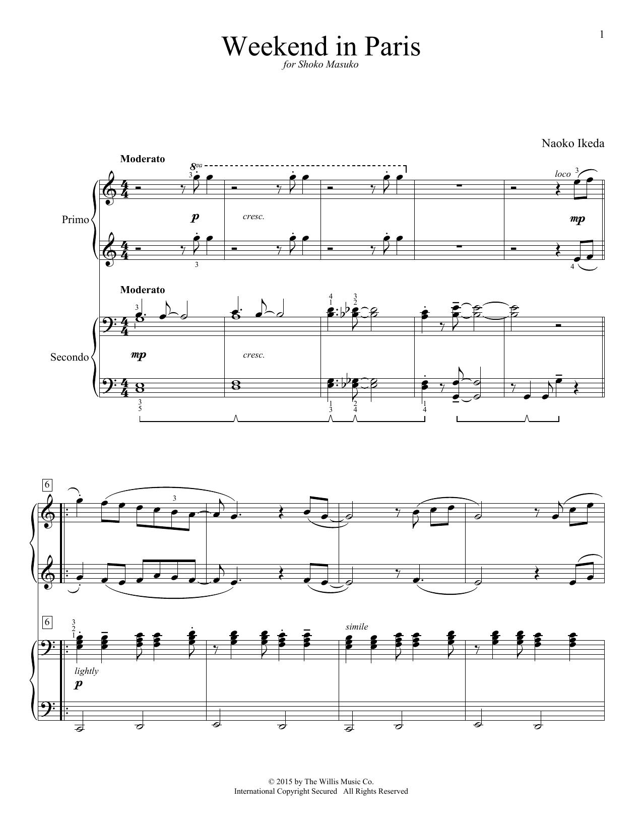 Partition piano Weekend In Paris de Naoko Ikeda - 4 mains