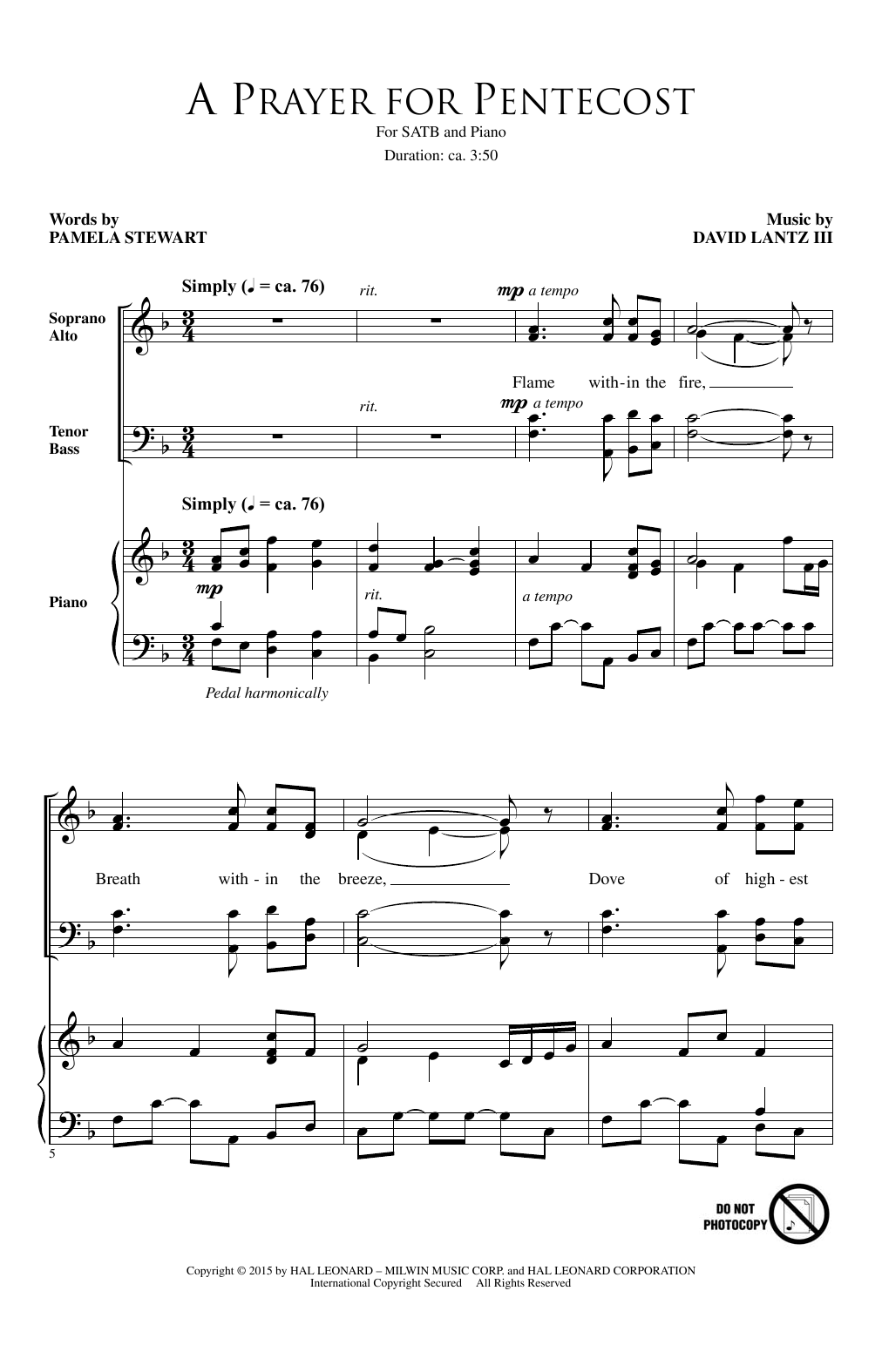 Partition chorale A Prayer For Pentecost de David Lantz III - SATB