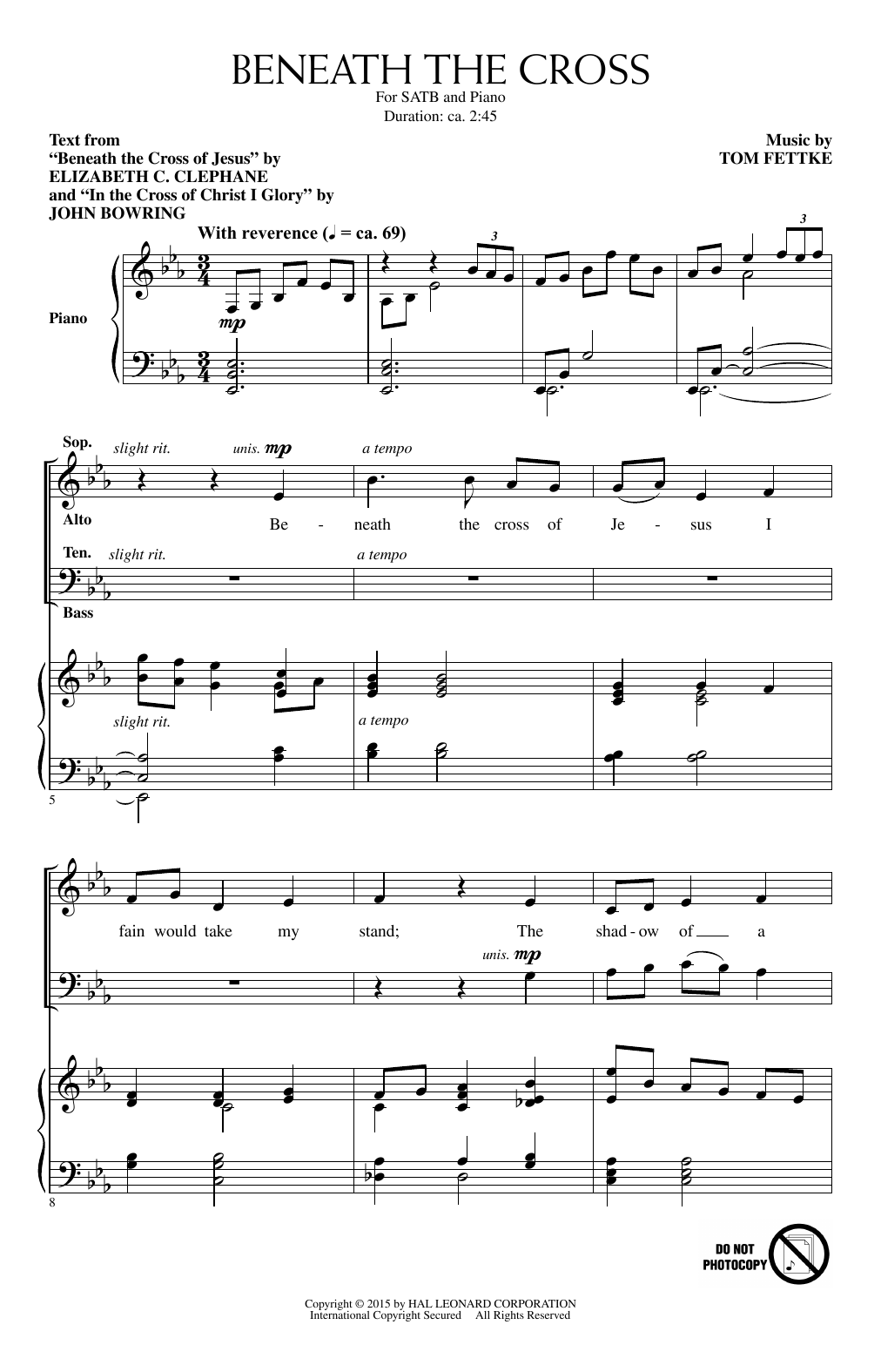 Partition chorale Beneath The Cross de Tom Fettke - SATB