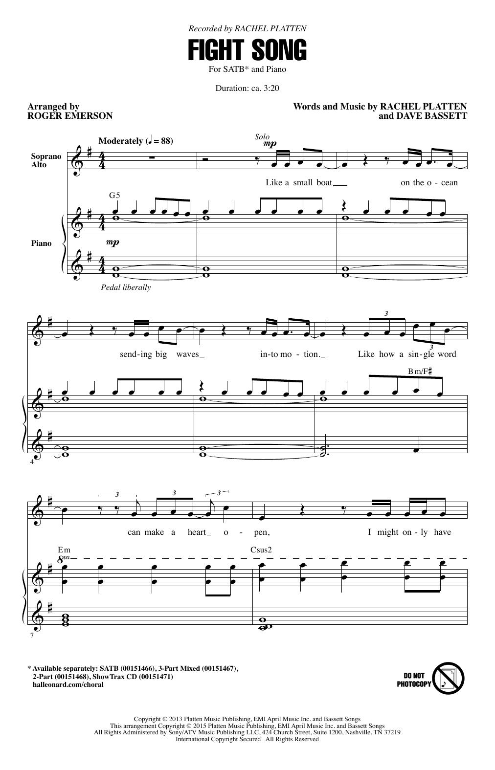 Partition chorale Fight Song (arr. Roger Emerson) de Rachel Platten - SATB