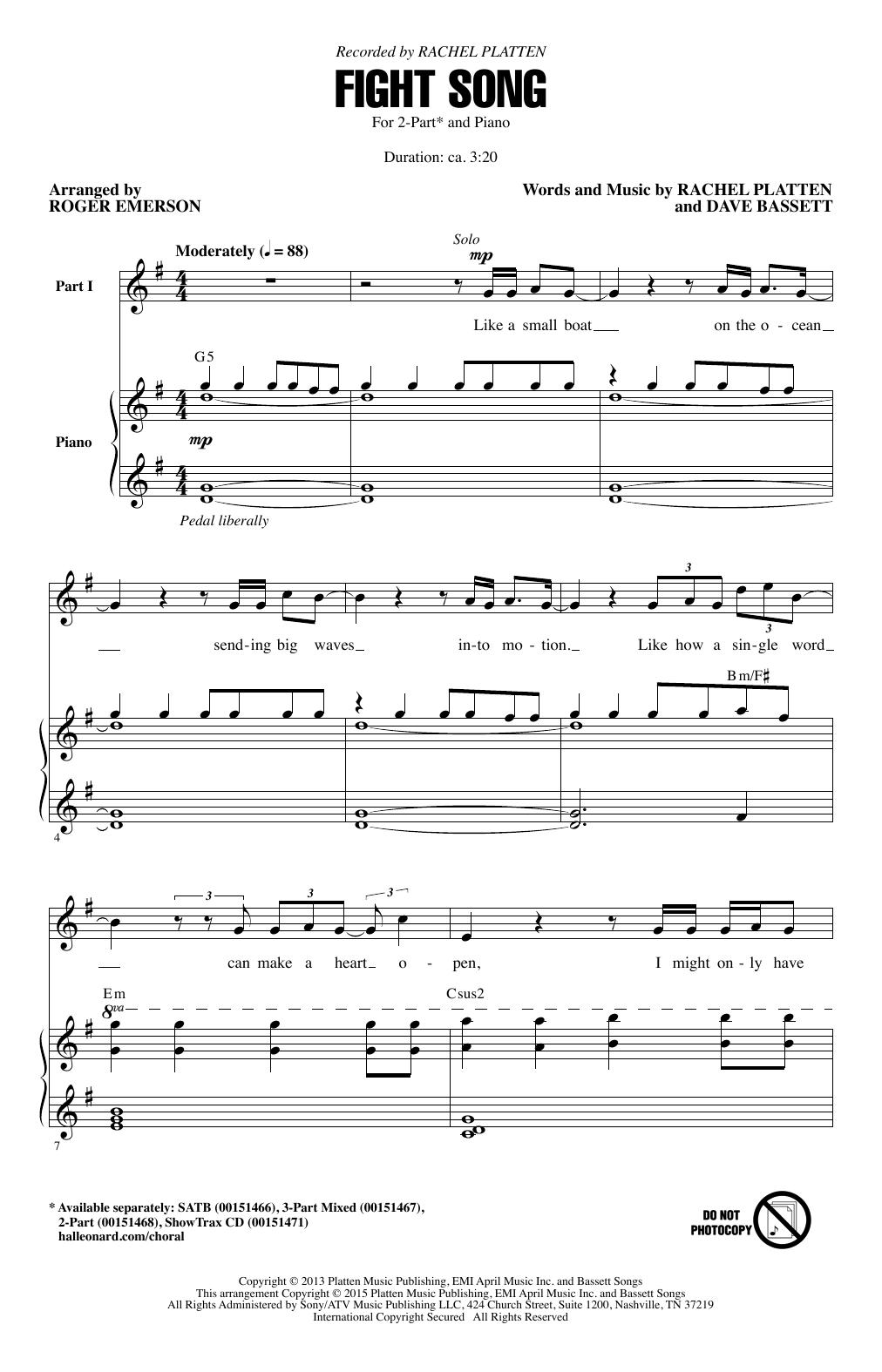Partition chorale Fight Song (arr. Roger Emerson) de Rachel Platten - 2 voix