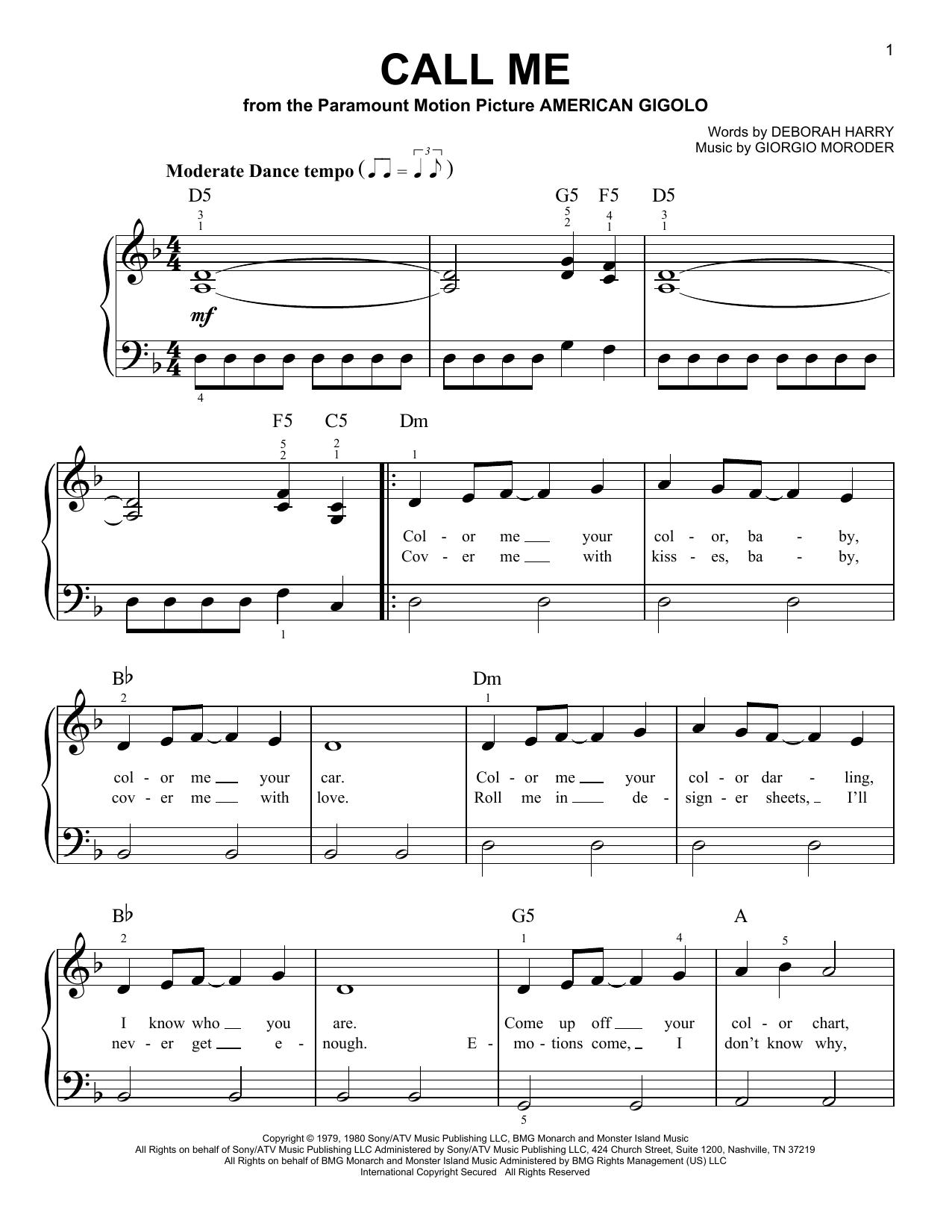 Partition piano Call Me de Blondie - Piano Facile