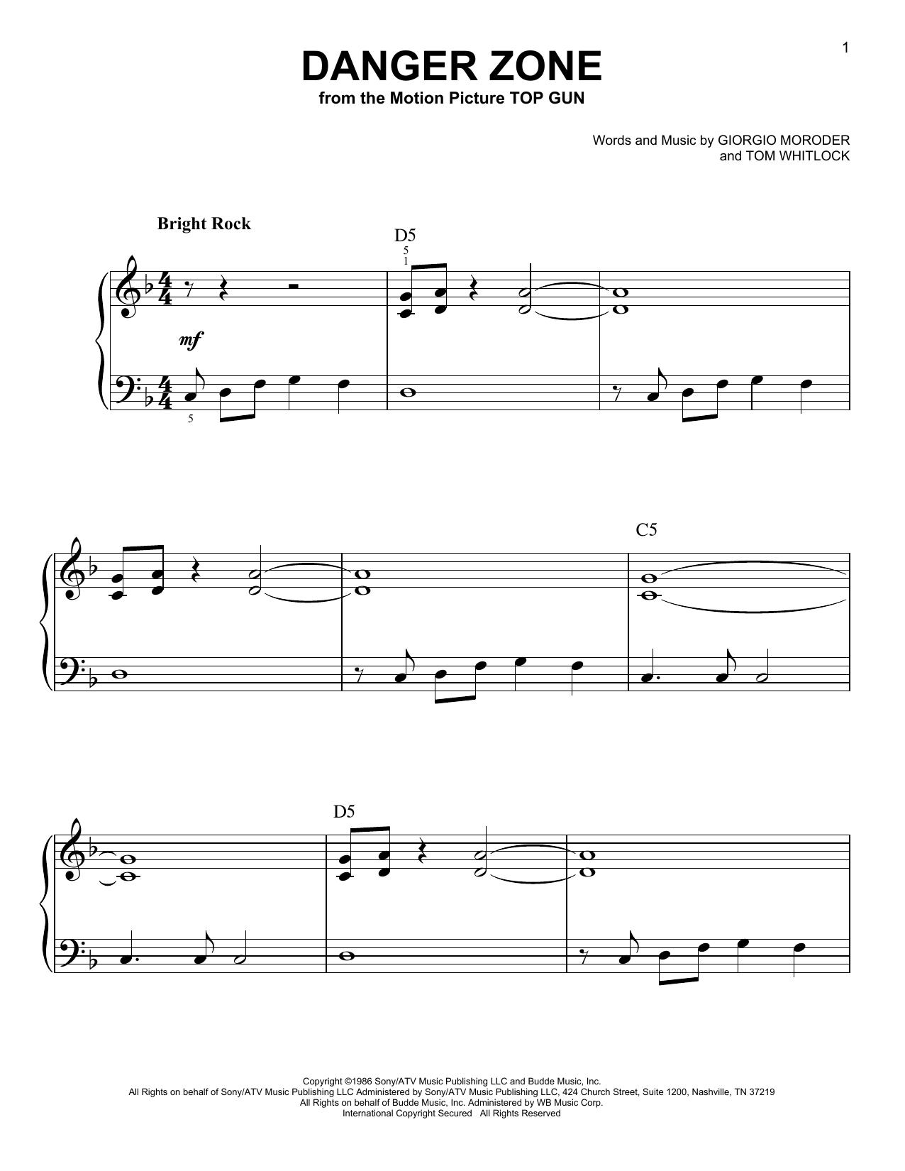 Partition piano Danger Zone de Kenny Loggins - Piano Facile