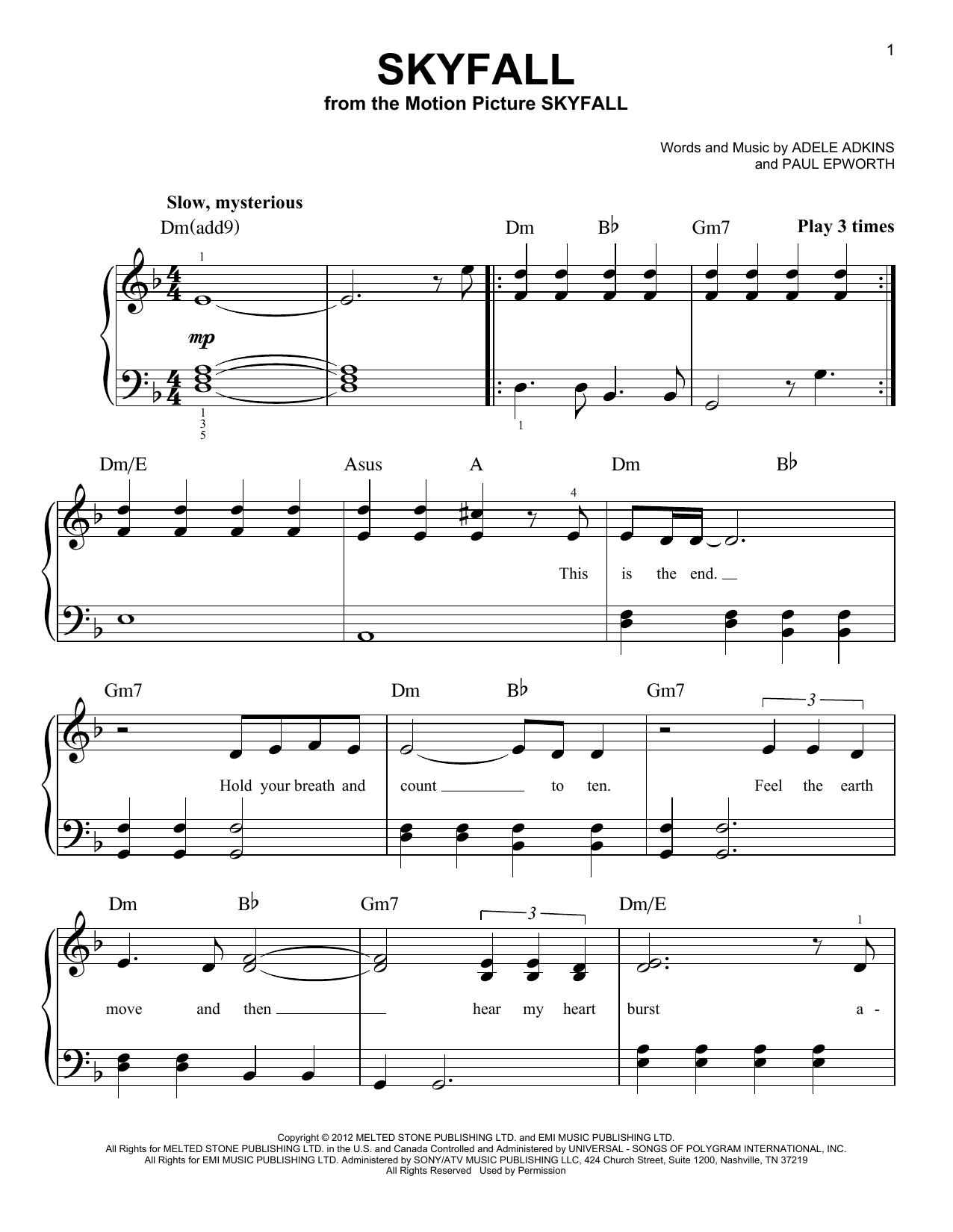 Partition piano Skyfall de Adele - Piano Facile