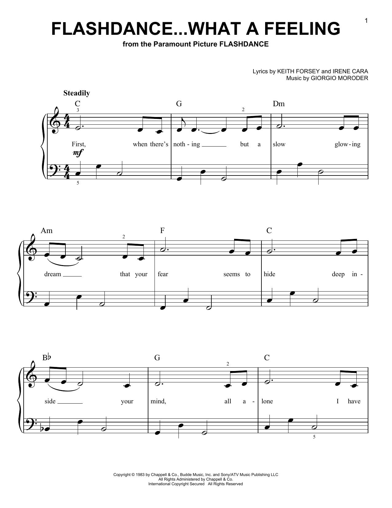 Partition piano Flashdance...What A Feeling de Irene Cara - Piano Facile