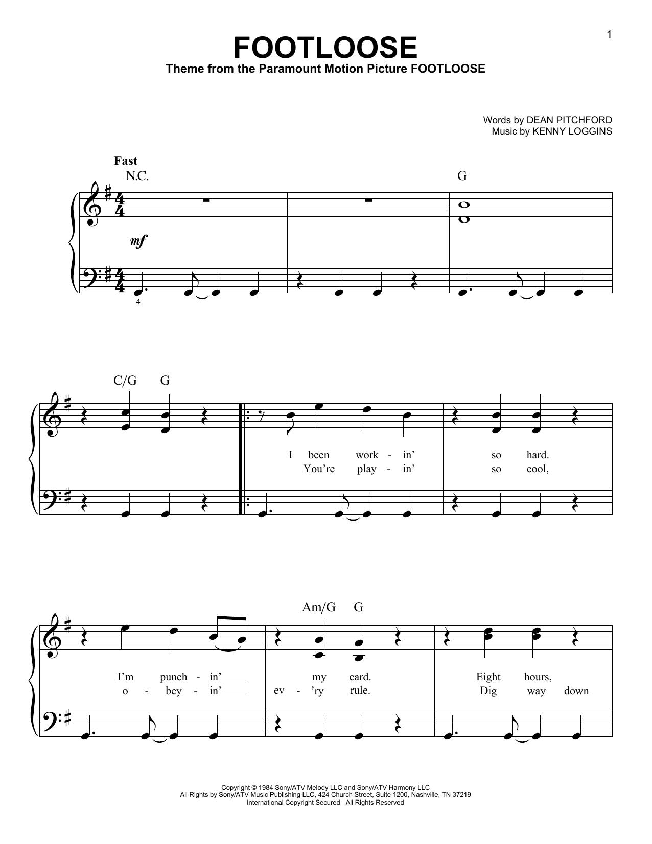 Partition piano Footloose de Kenny Loggins - Piano Facile