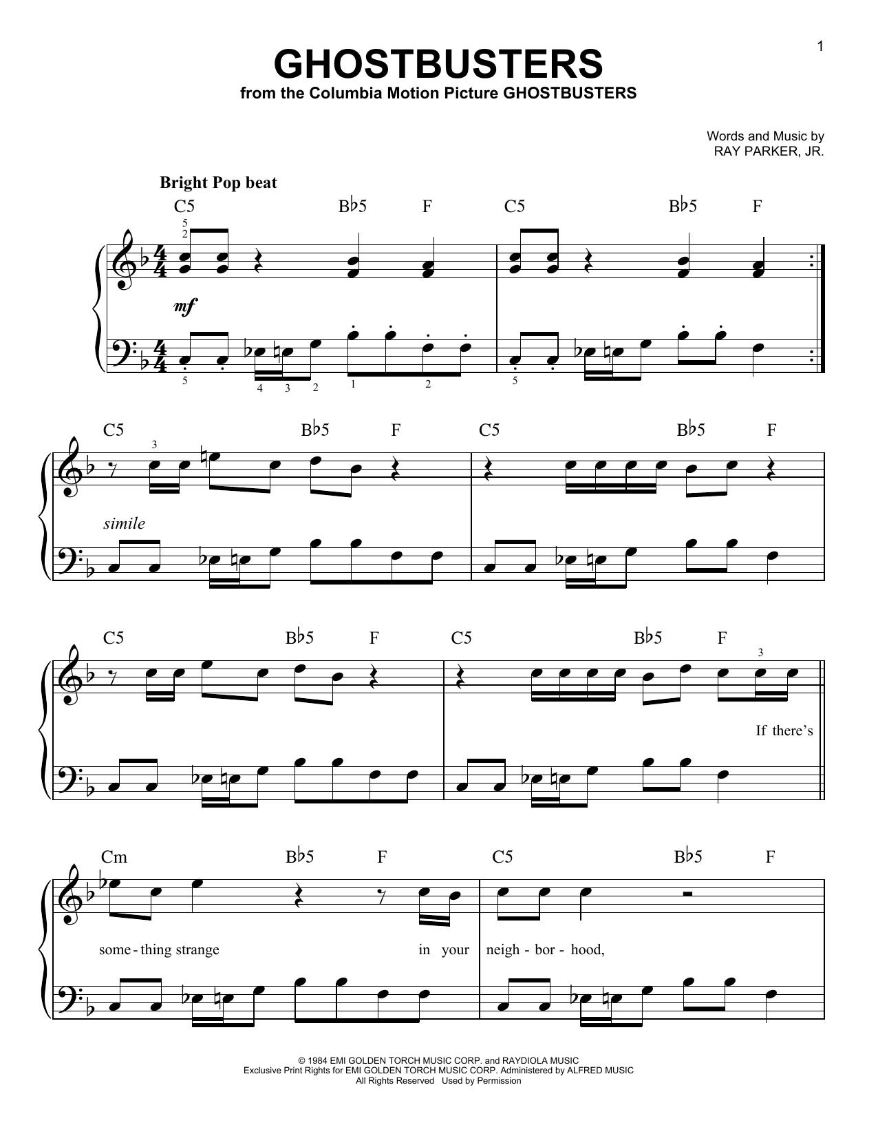 Partition piano Ghostbusters de Ray Parker, Jr. - Piano Facile