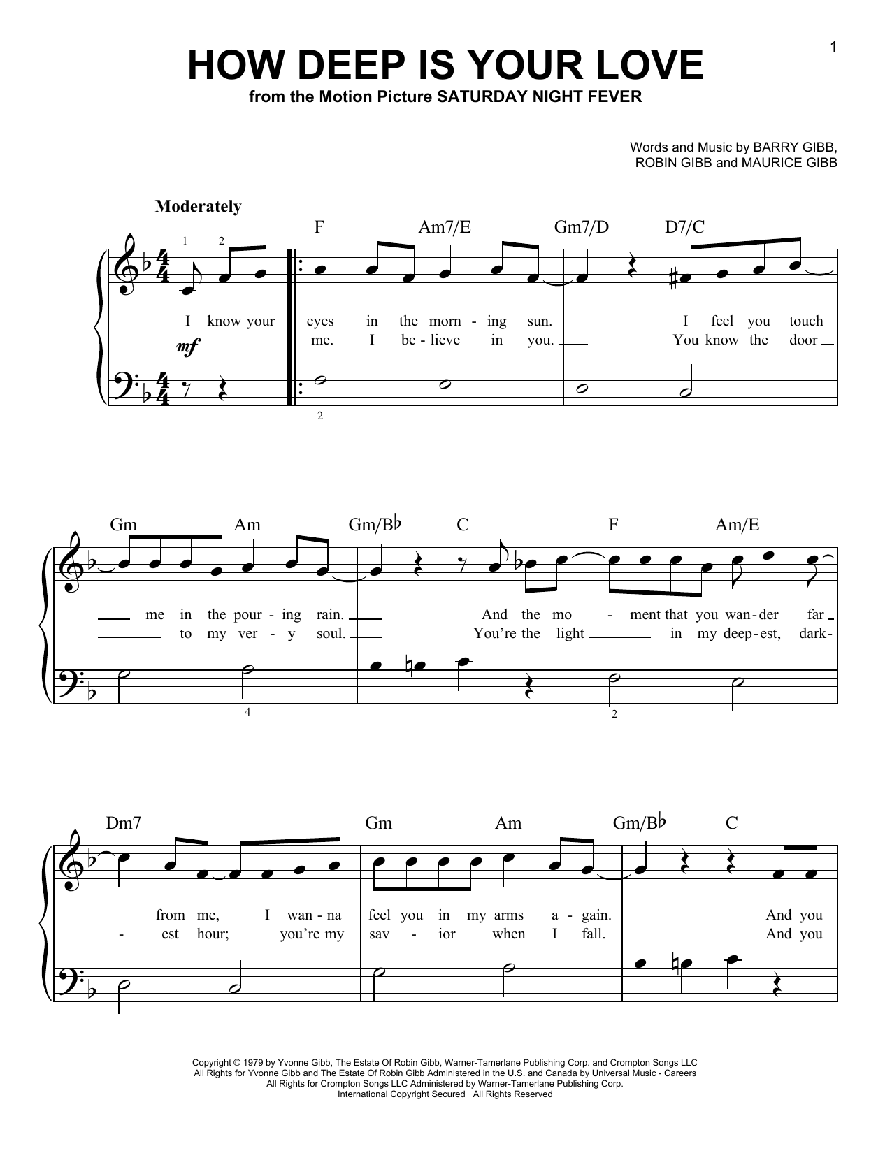 Partition piano How Deep Is Your Love de Bee Gees - Piano Facile