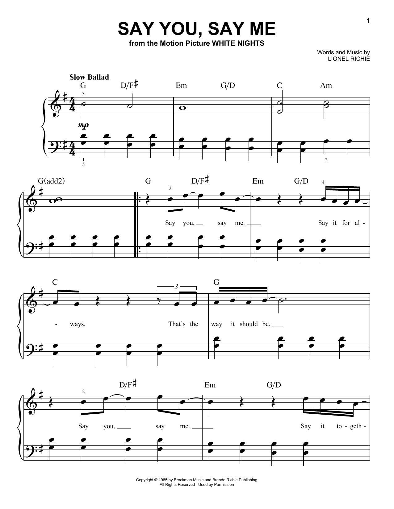 Partition piano Say You, Say Me de Lionel Richie - Piano Facile