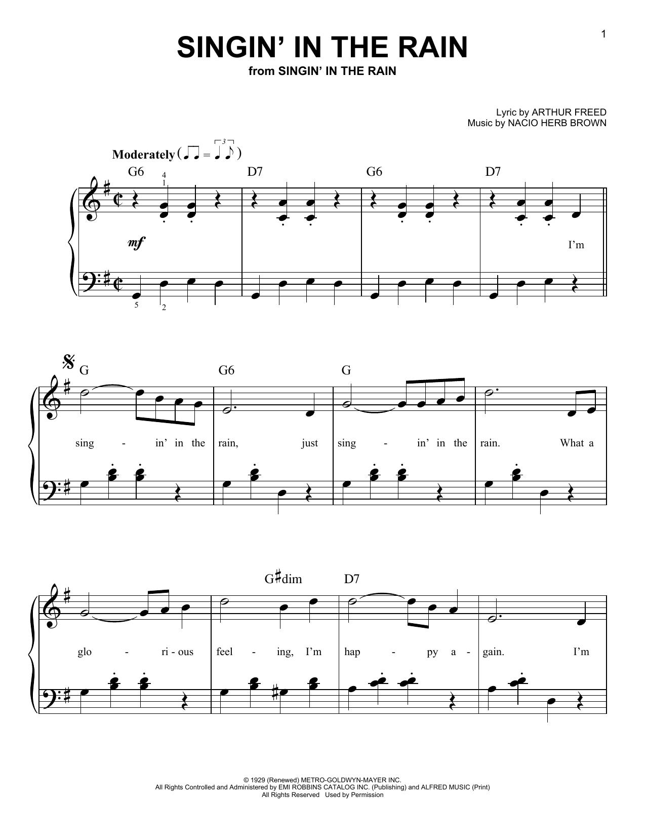 Partition piano Singin' In The Rain de Arthur Freed - Piano Facile