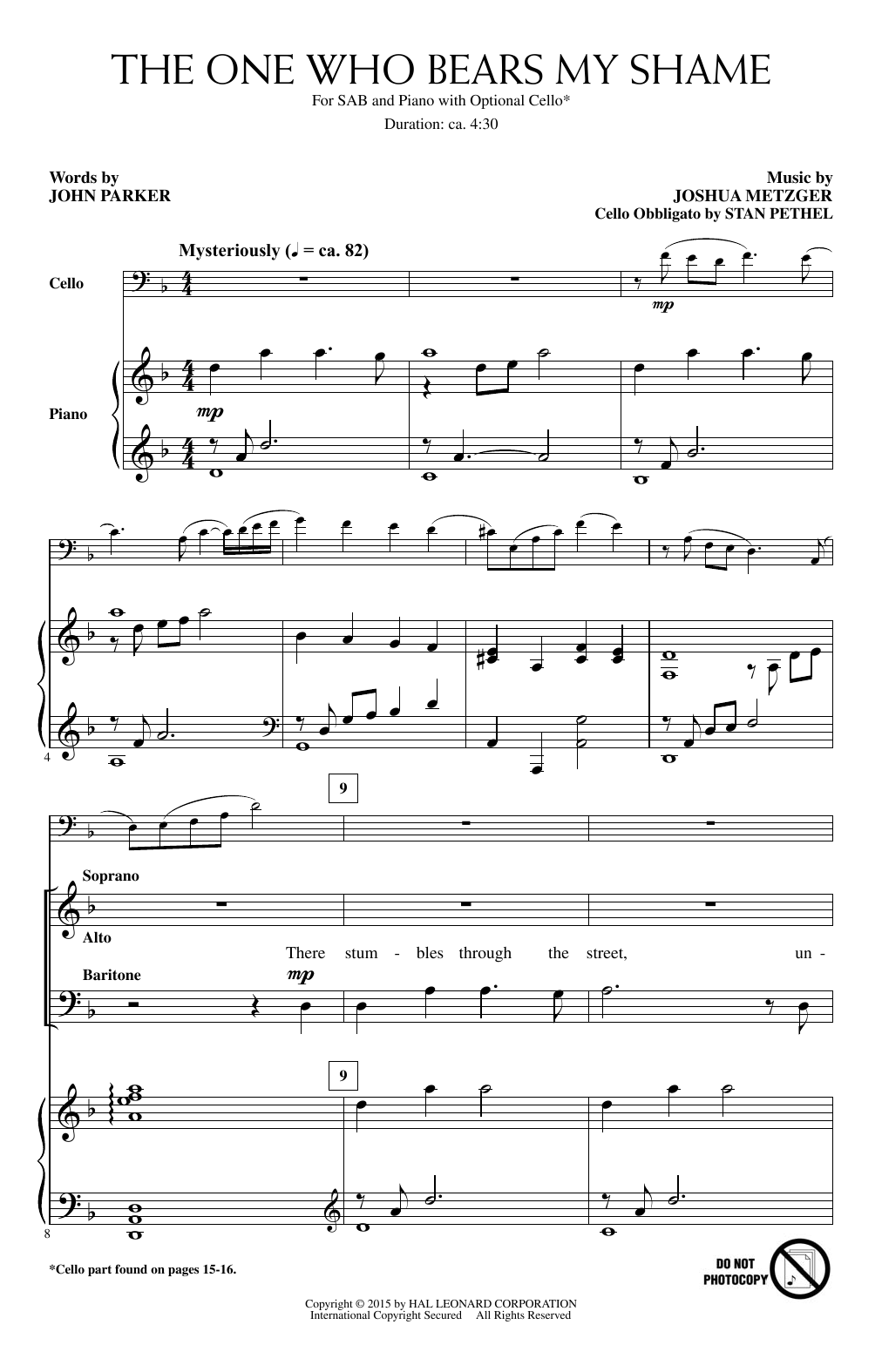 Partition chorale The One Who Bears My Shame de Joshua Metzger - SAB