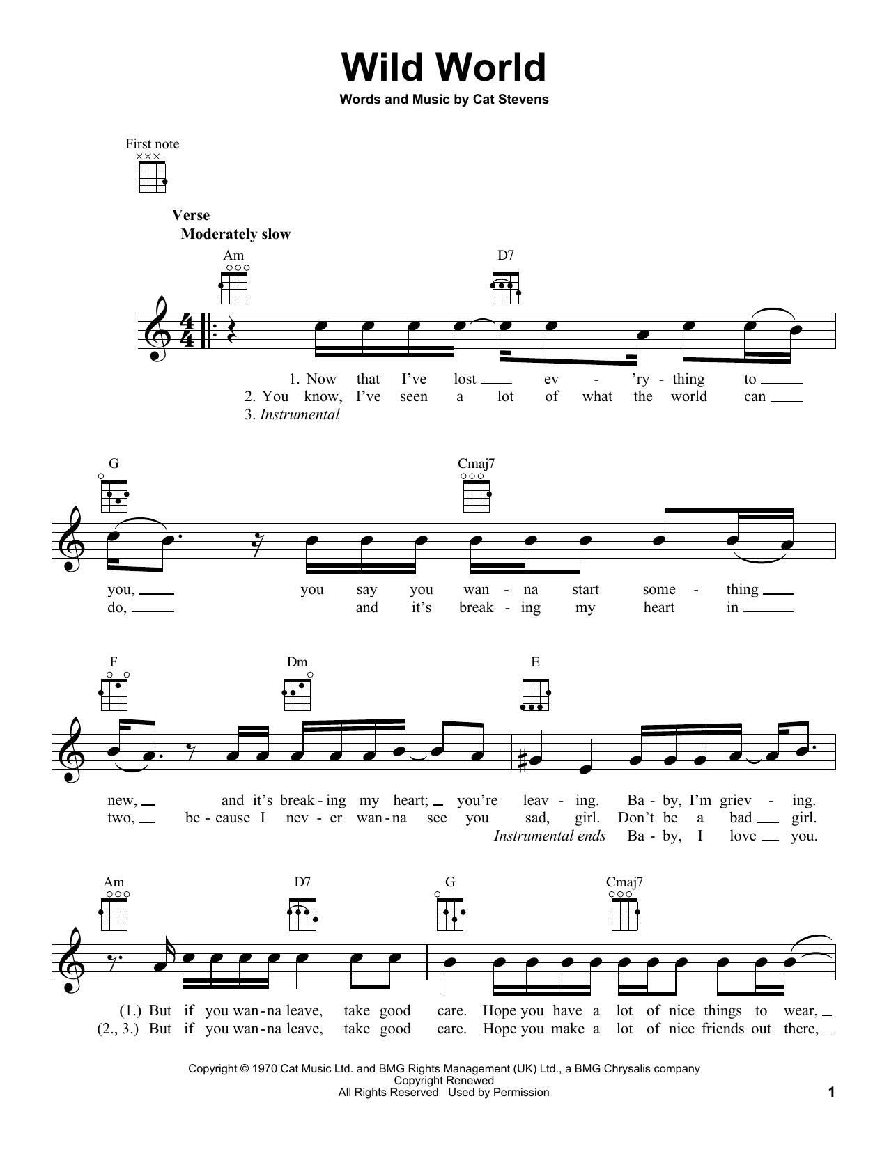 Tablature guitare Wild World de Yusuf Islam - Ukulele