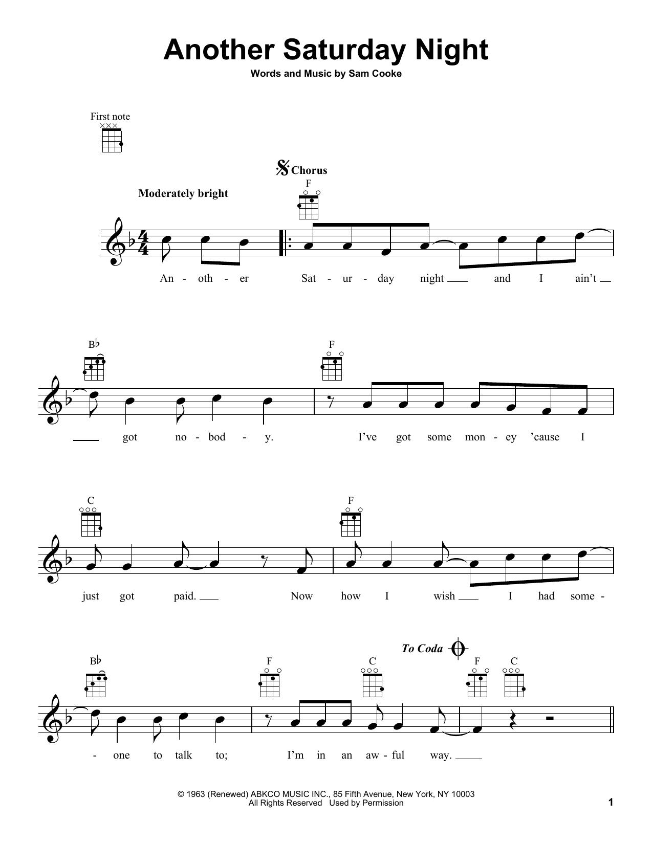 Tablature guitare Another Saturday Night de Yusuf Islam - Ukulele