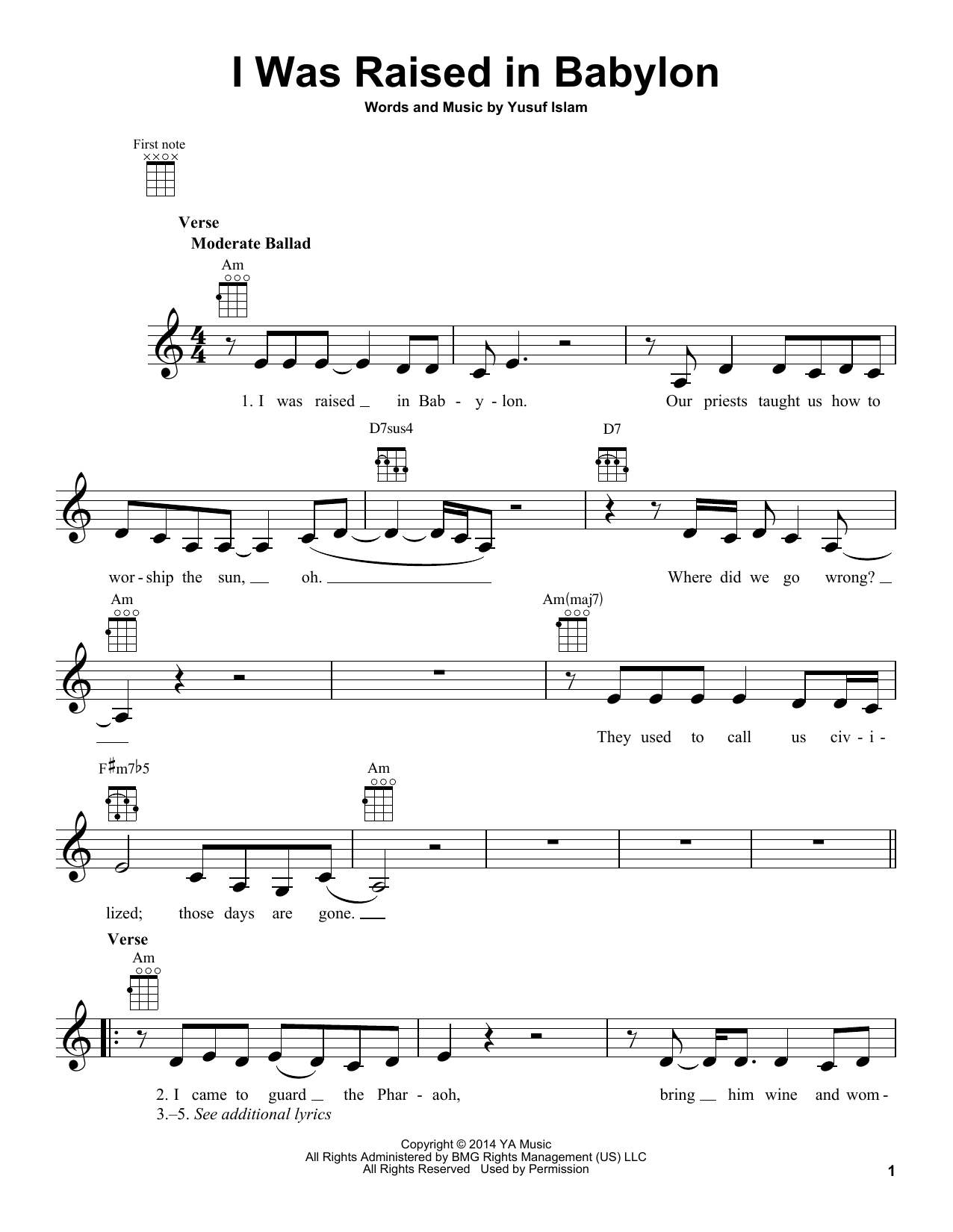 Tablature guitare I Was Raised In Babylon de Yusuf Islam - Ukulele