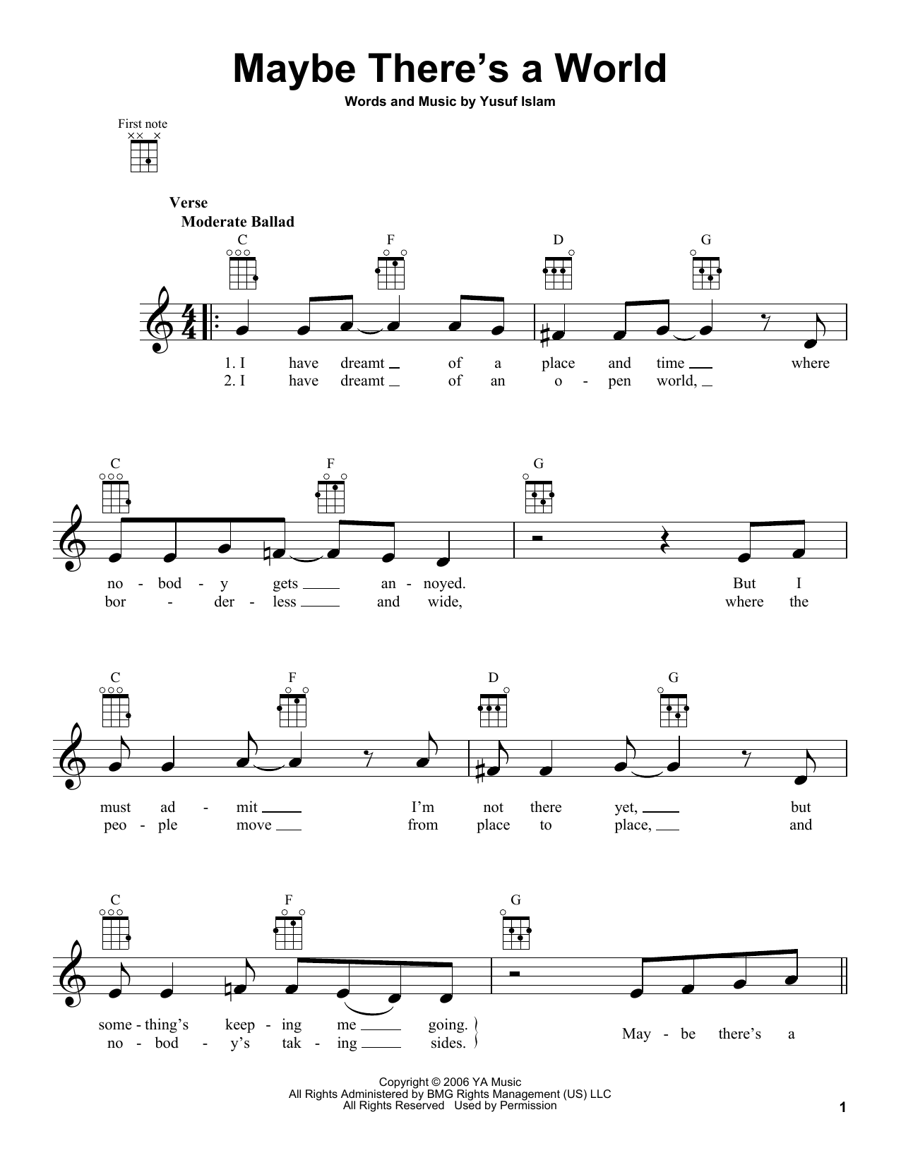 Tablature guitare Maybe There's A World de Yusuf Islam - Ukulele