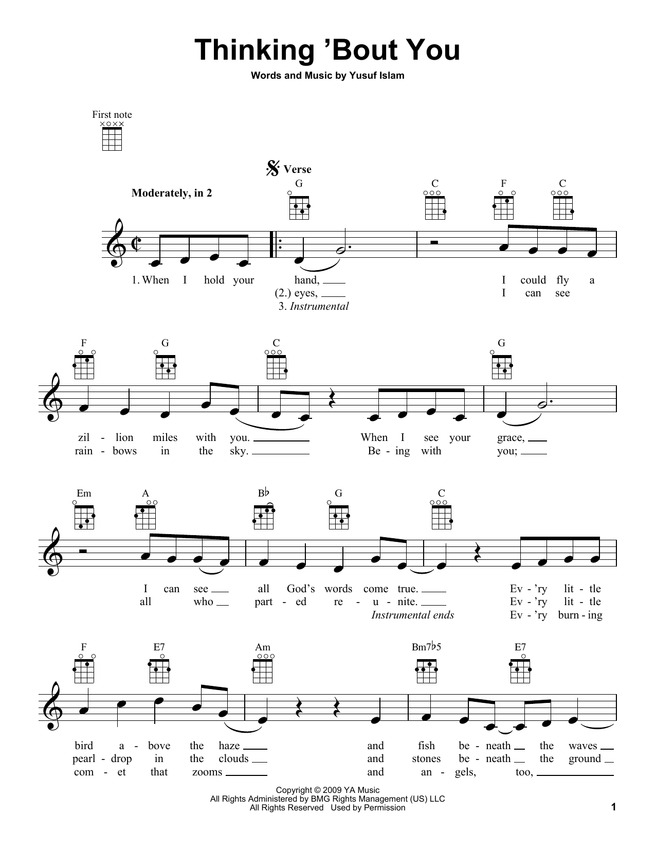 Tablature guitare Thinking 'Bout You de Yusuf Islam - Ukulele