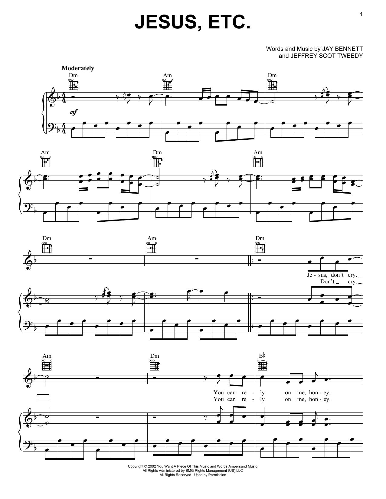 Partition piano Jesus, Etc... de Wilco - Piano Voix Guitare (Mélodie Main Droite)