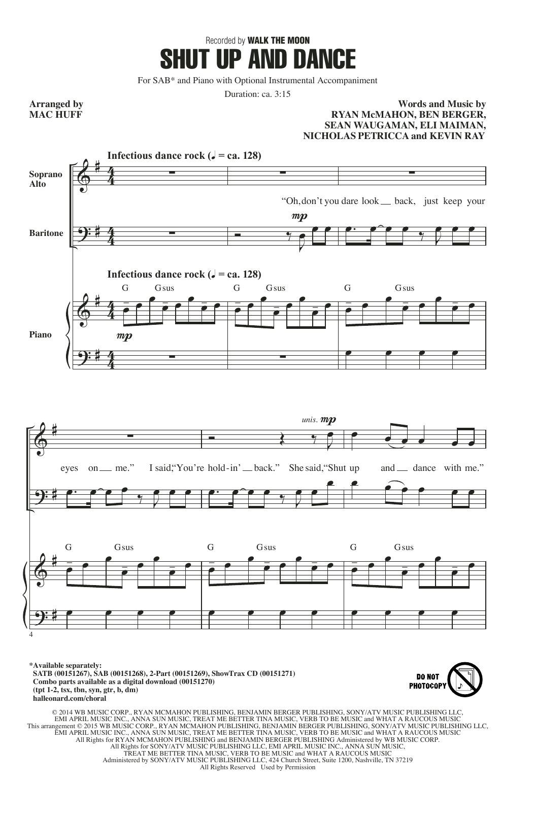 Partition chorale Shut Up And Dance de Walk The Moon - SAB