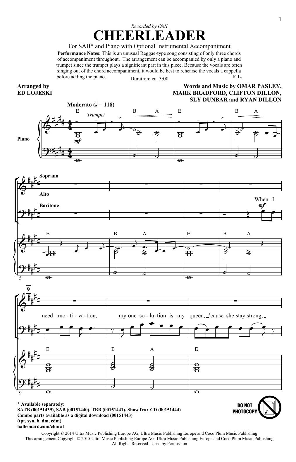Partition chorale Cheerleader de OMI - SAB