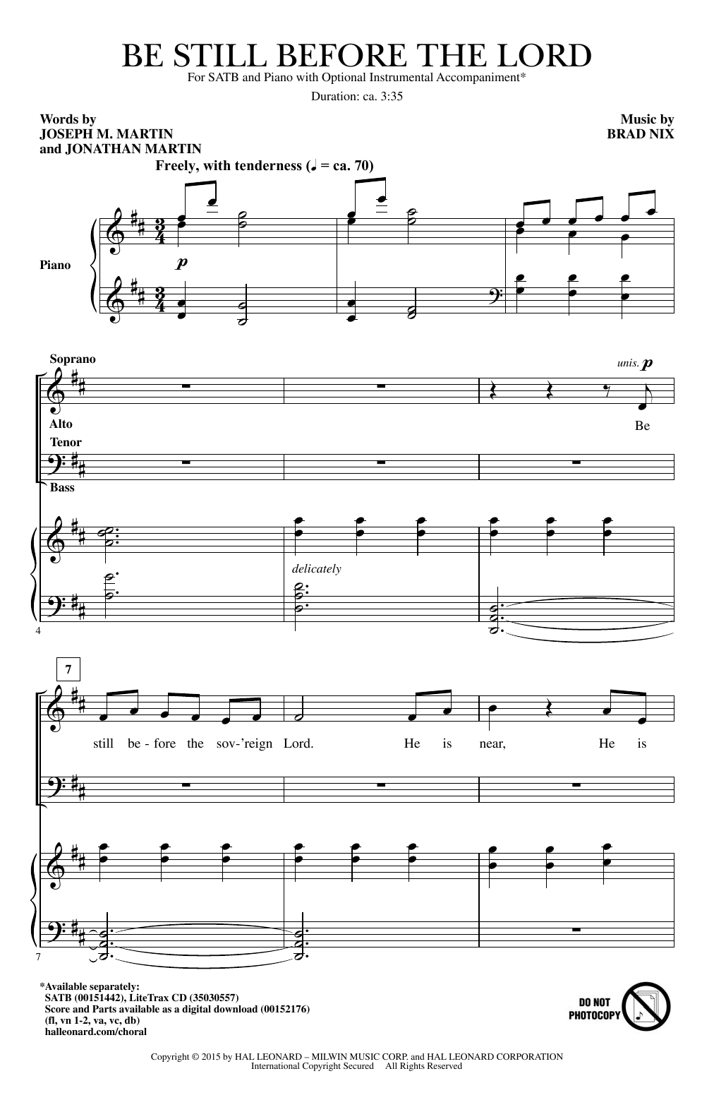 Partition chorale Be Still Before The Lord de Brad Nix - SATB