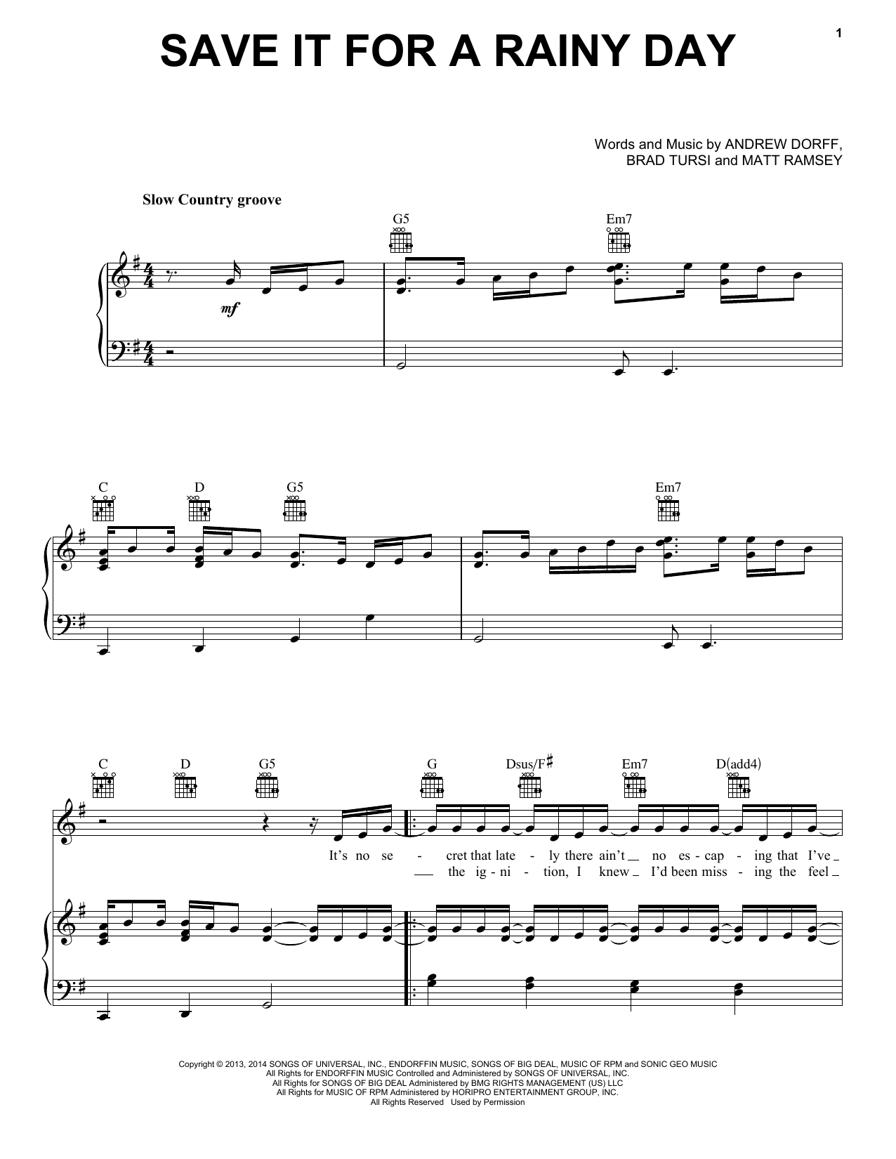 Partition piano Save It For A Rainy Day de Kenny Chesney - Piano Voix Guitare (Mélodie Main Droite)