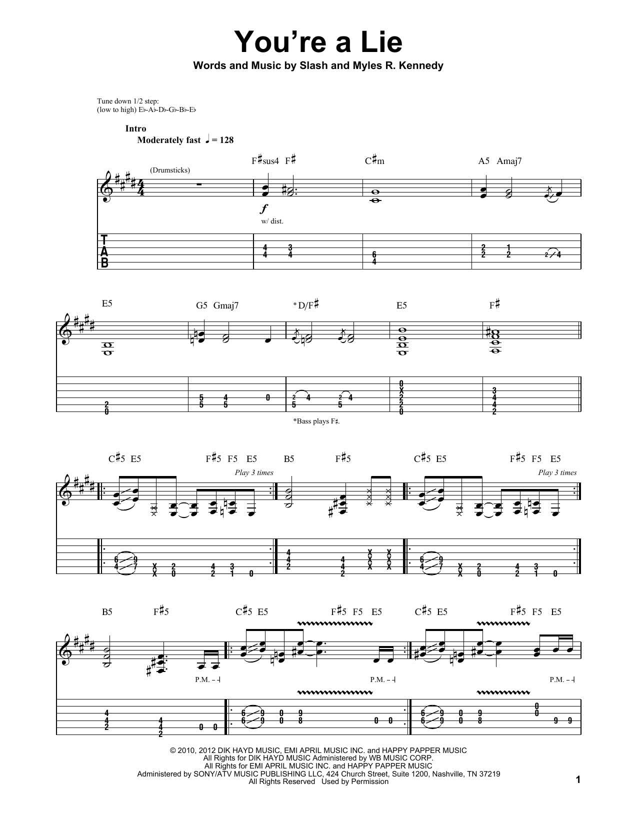Tablature guitare You're A Lie de Slash - Tablature Guitare