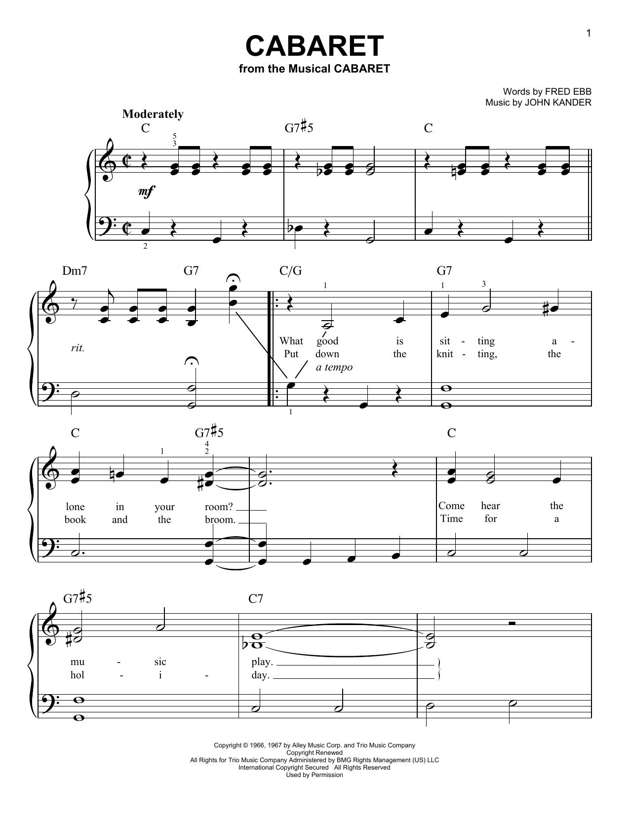 Partition piano Cabaret de John Kander - Piano Facile